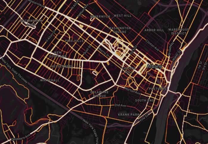 Strava heat map Albany