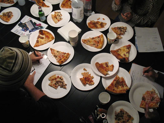 TOP2013 judges overhead pizza plates