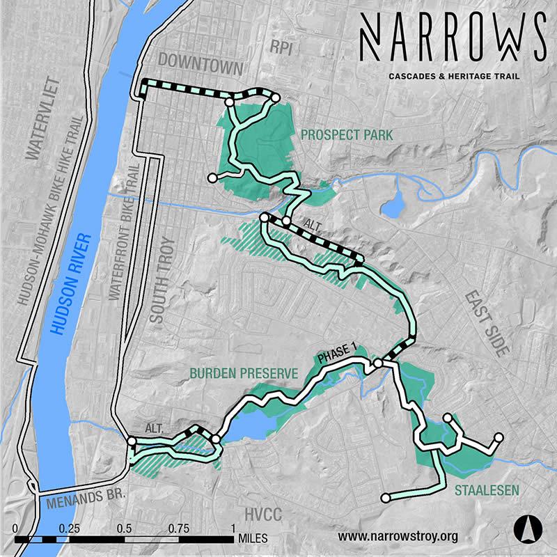 The Narrows Troy trail network map