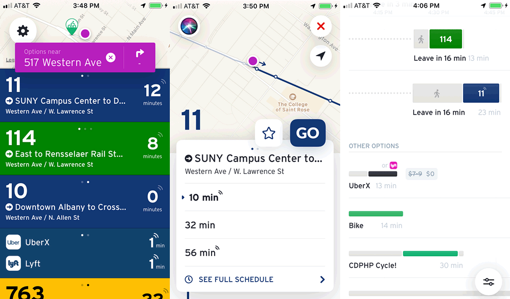 Transit app CDTA screenshots