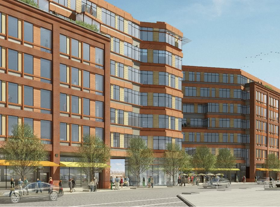 troy city center rendering along street