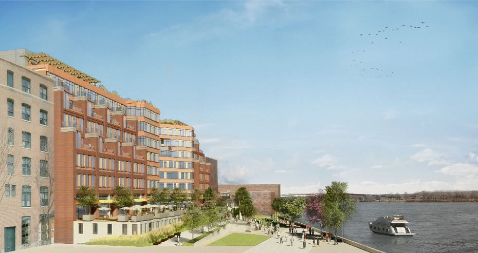 troy city center rendering along river
