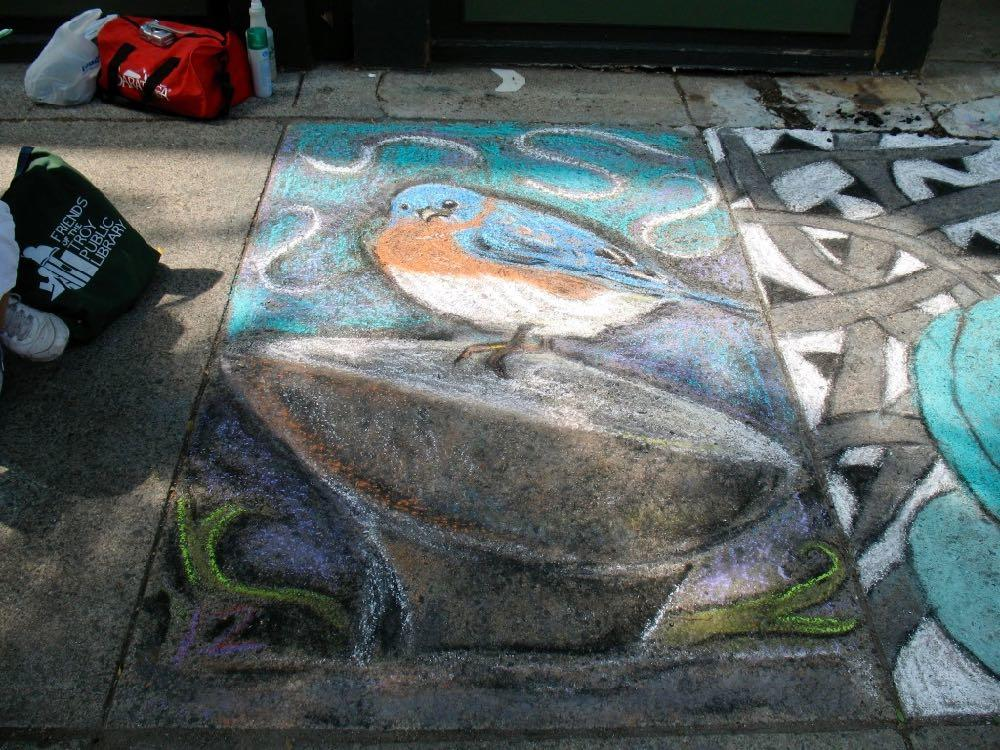 Troy sidewalk art 2011 bluebird on The Egg
