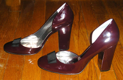 a pair of ruby red high heels