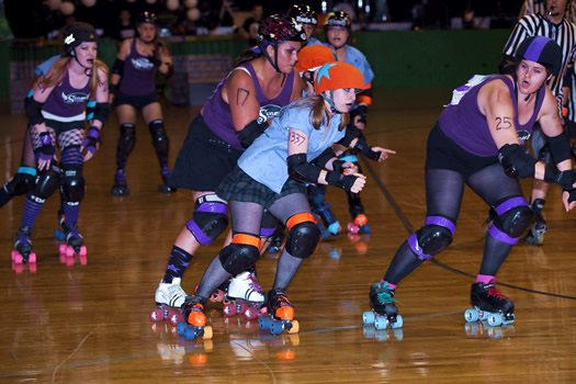albany all stars roller derby action