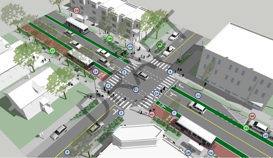 albany complete streets draft bike transit intersection example