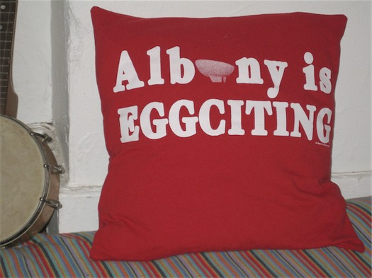 albany is eggciting pillow