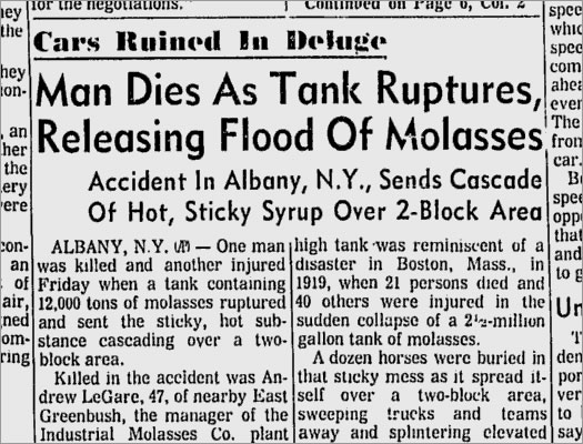albany molasses spill 1968 article Toldeo Blade