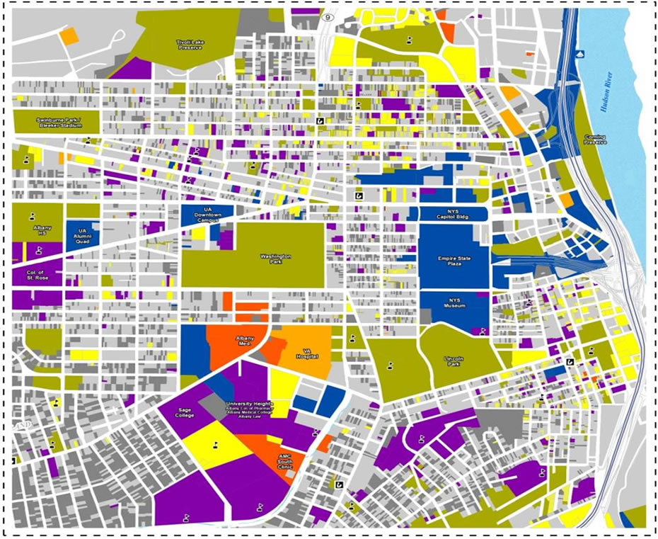 city of Albany untaxable properties map inset