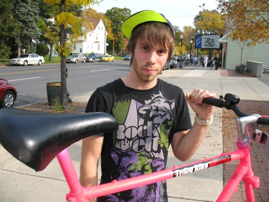 Andrew Franciosa and his big pink bike