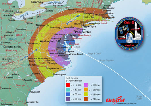 antares rocket launch visibility map 2014-10-27