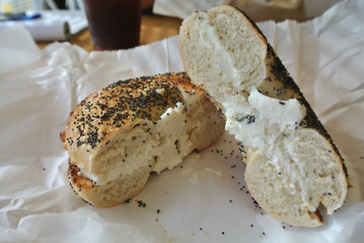 bagels and bakes bagel sliced