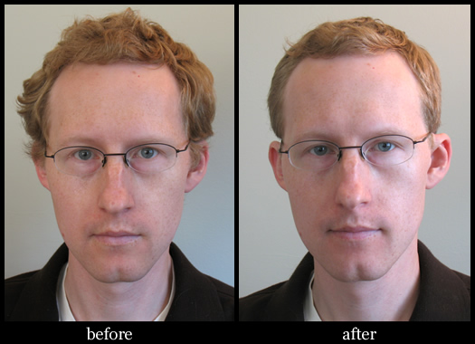 barber poll mensroom before after