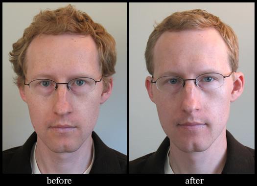 barber poll mensroom before after