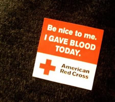 be nice I gave blood button