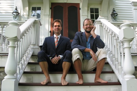 beekman boys sitting on steps
