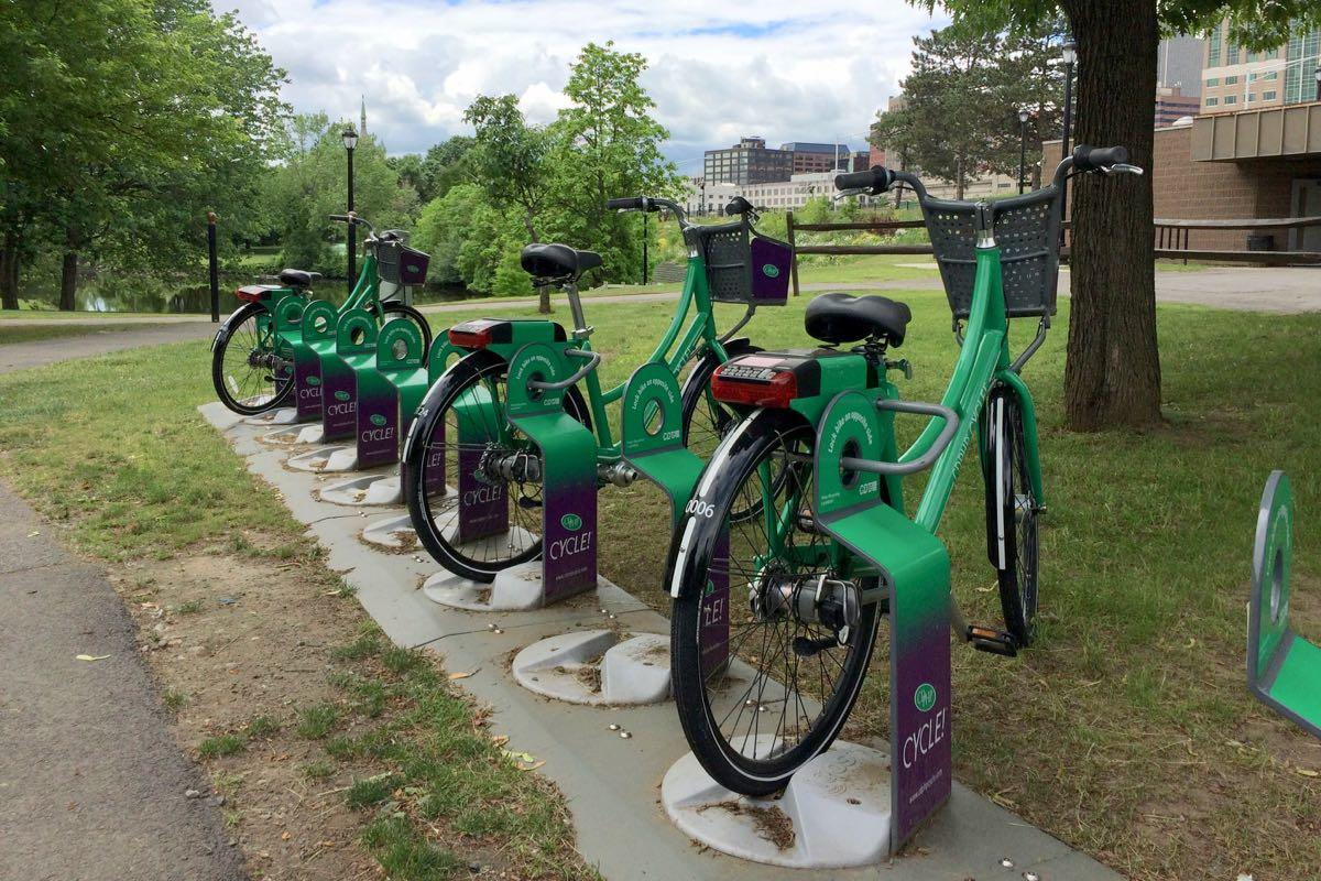 bike share bikes and rack Corning Riverfront Park