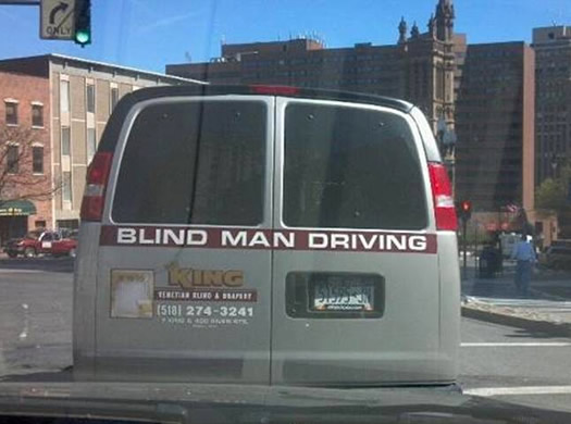 blind man driving van