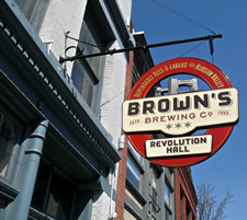 browns brewing sign closeup