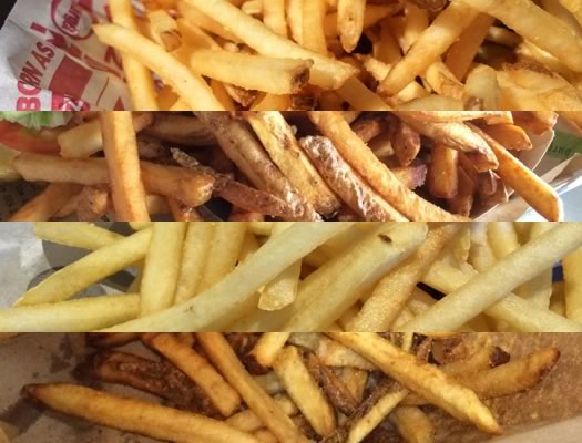 burger chain tasting fries composite
