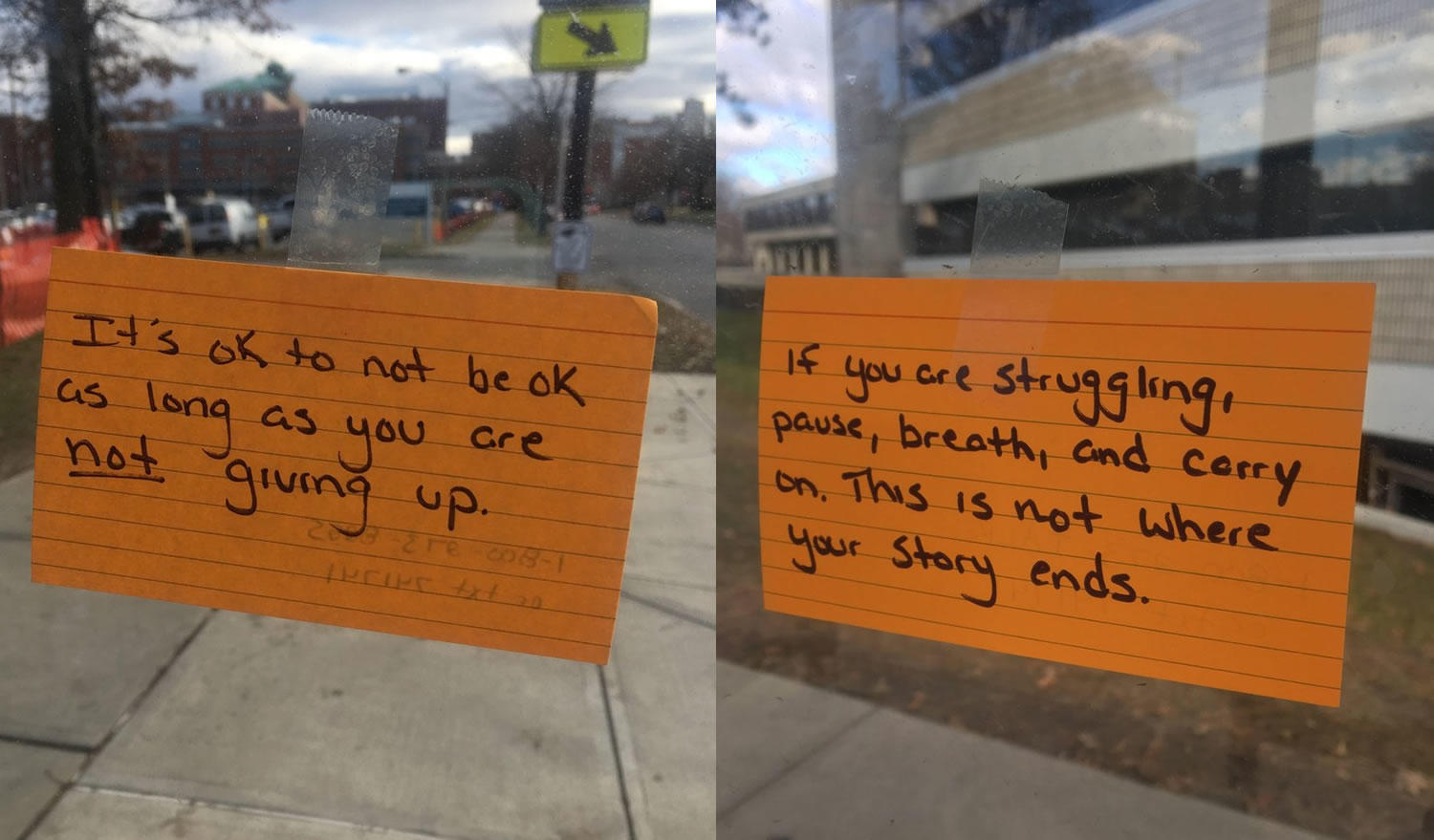 bus stop encouragement cards via Justin Devendorf