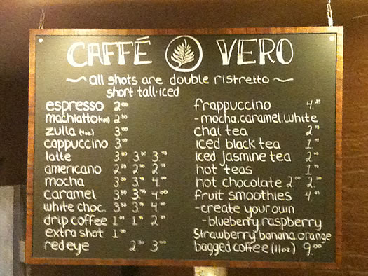 caffe vero menu board