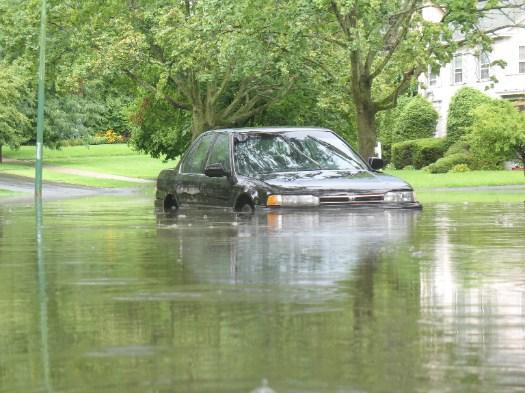 car submerged on Manning