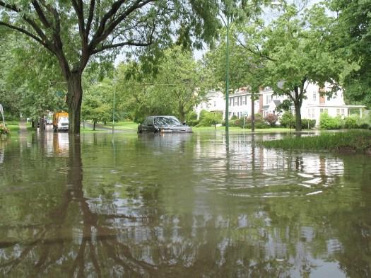 car submerged on Manning wide shot