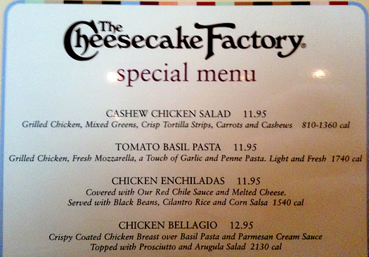 cheesecake calorie menu