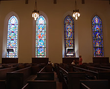 church windows pews