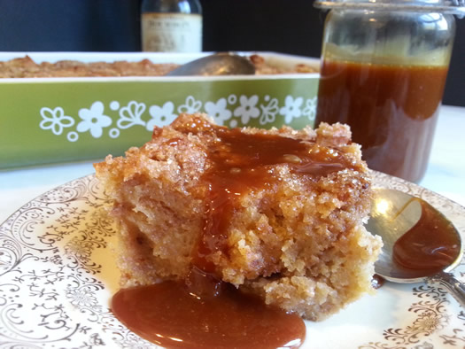 cider donut bread pudding serving