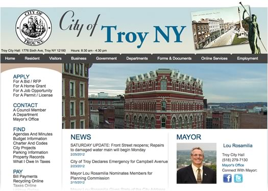 city of troy website screengrab