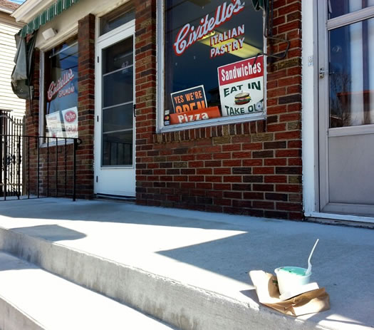 civitello's spumoni on front step