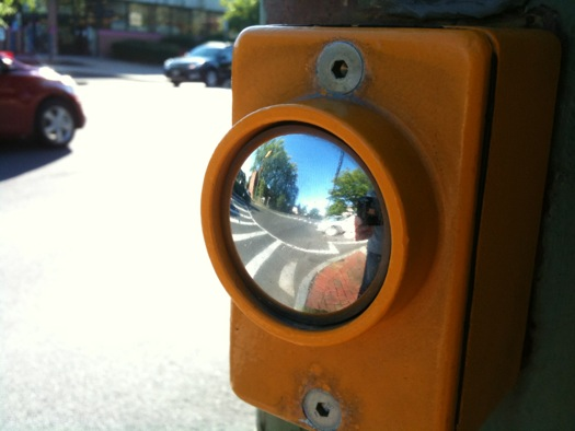 crosswalk button reflection