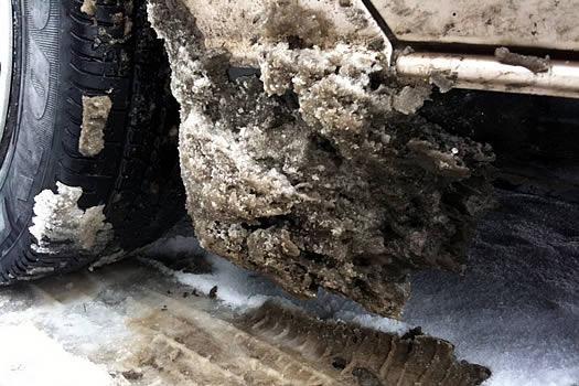 crusty slush on car