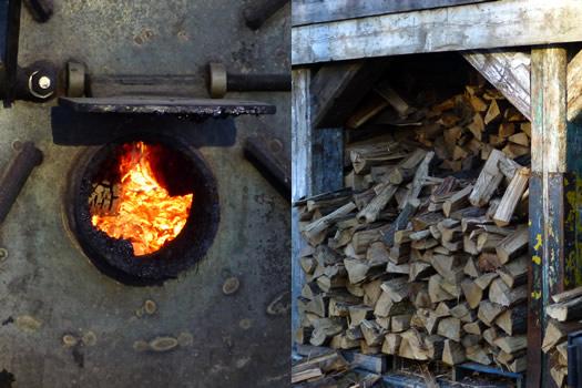 dinosaur bar-b-que smoker fire and wood