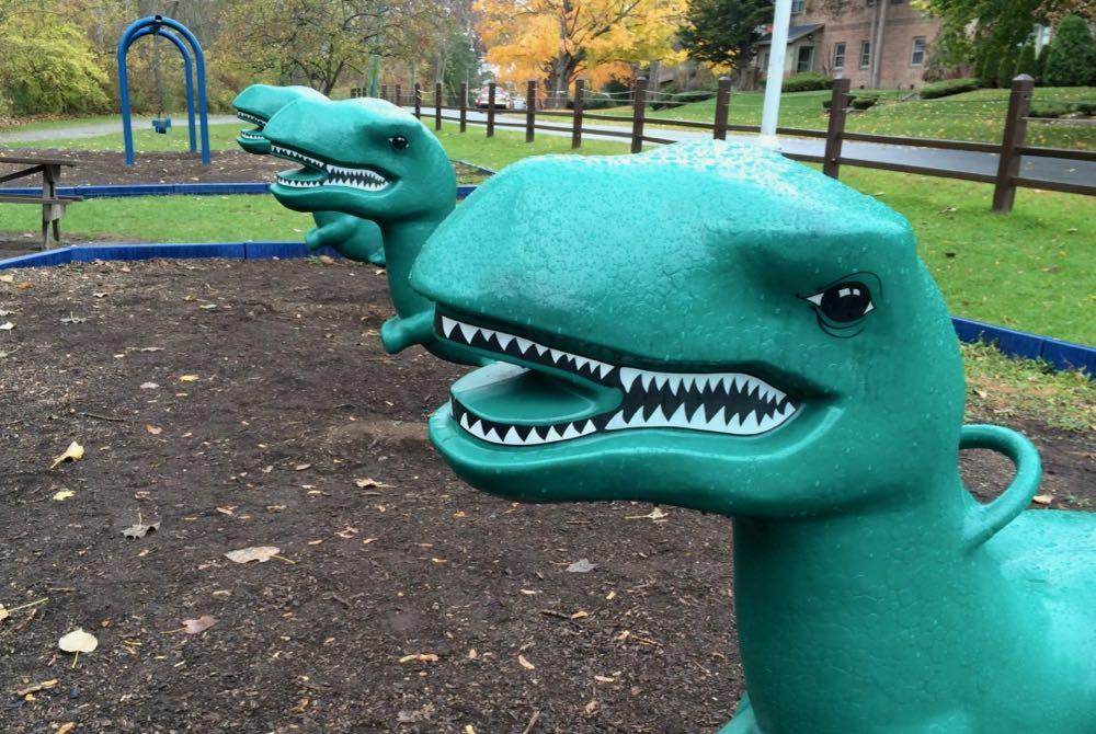 dinosaurs at old Buckingham Park playground