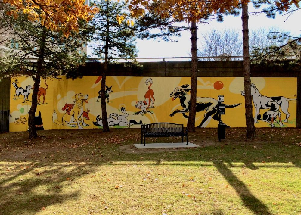 downtown Albany dog park mural