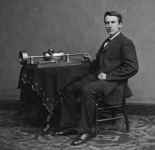 edison with tinfoil phonograph 1878