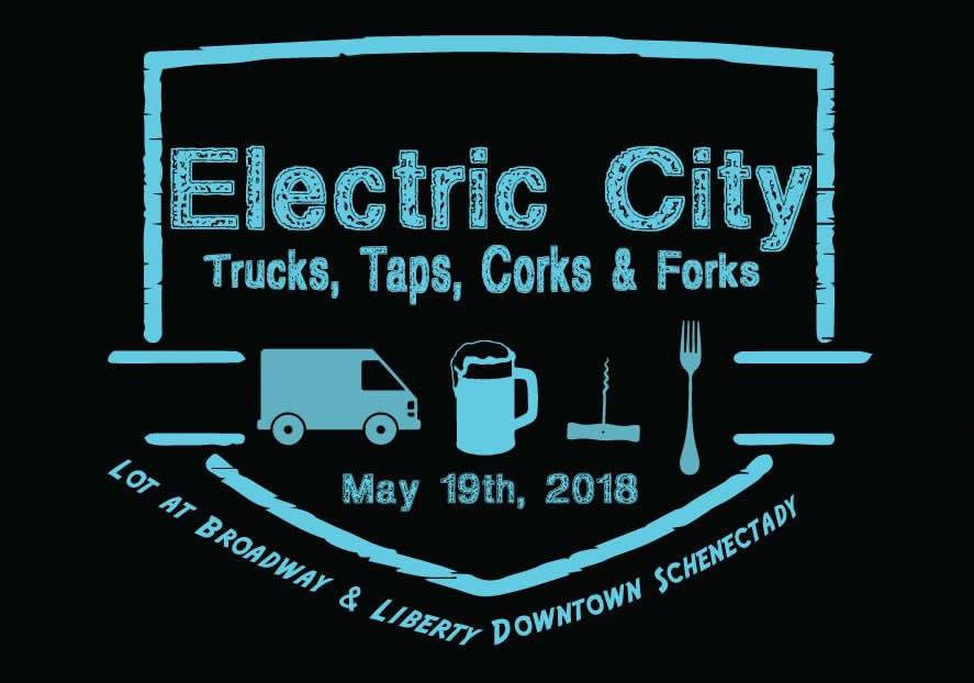 electric city trucks taps corks forks 2018 logo
