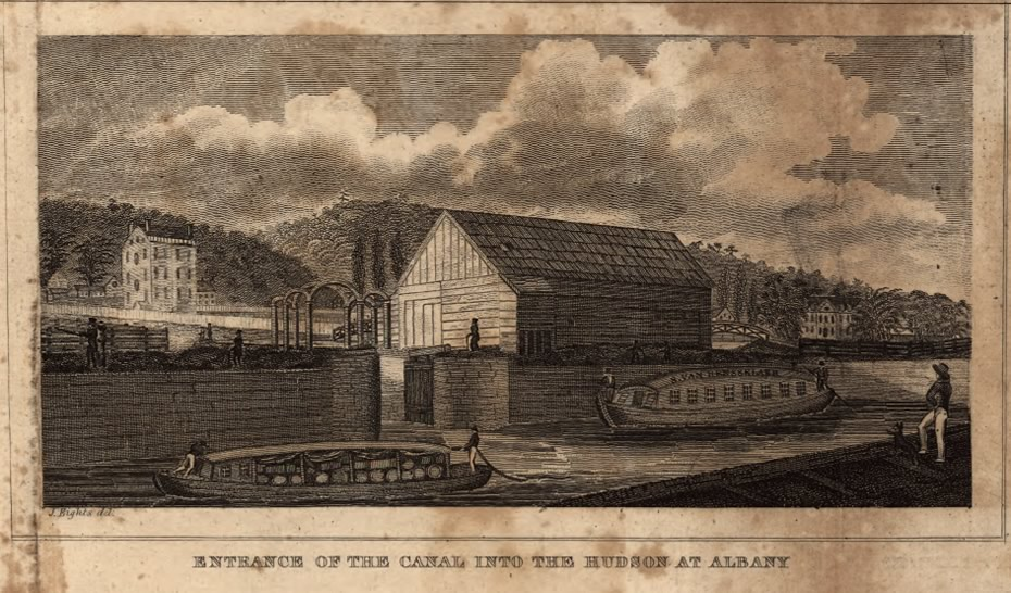 erie canal at hudson river albany 1824 loc