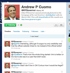 fake andrew cuomo twitter page