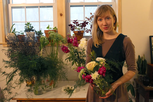 flower scout colie collen with arrangement