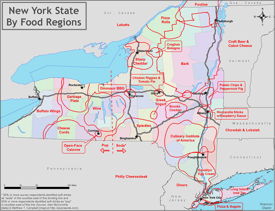 State Map Of New York.New York State Food Regions Map All Over Albany