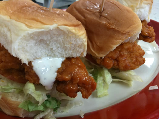 friendlys buffalo chicken sliders sideview