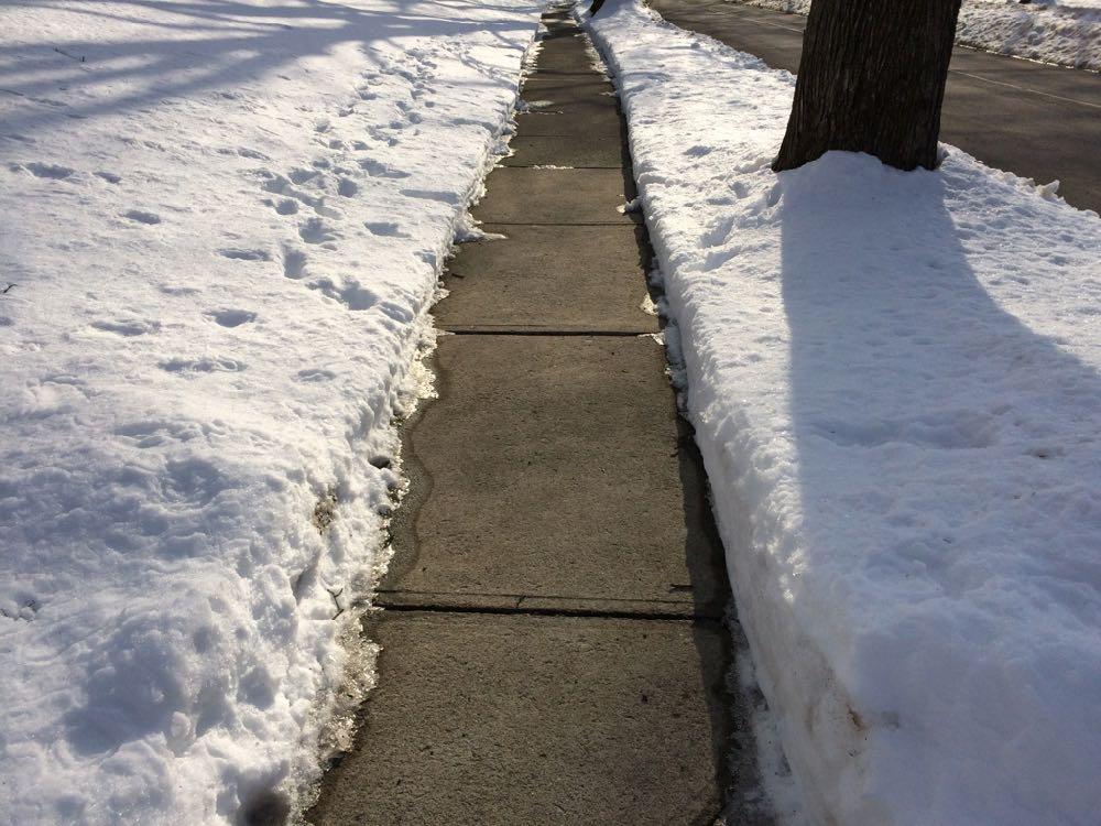 fully shoveled sidewalk