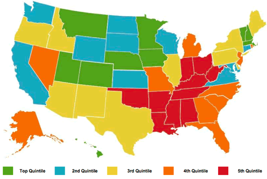 gallup-healthways state rankings map 2012