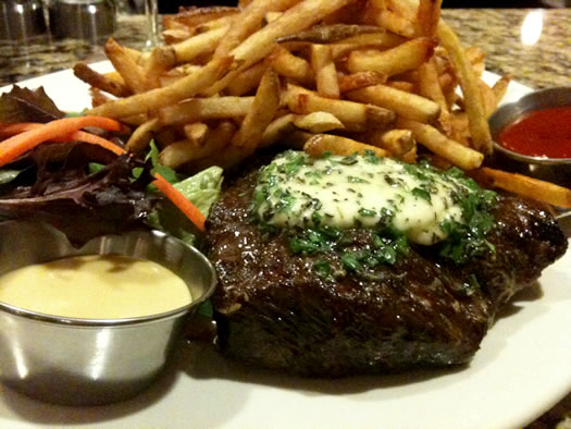 flat iron steak at Garden Bistro 24