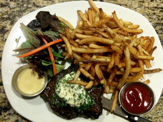 flat iron steak frites plate