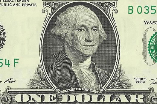 George Washington 1 dollar bill closeup